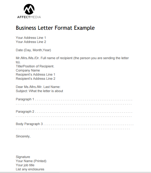 Simple Formal Letter Format from www.affectmedia.com.au